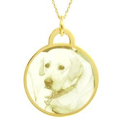Custom Photo Gold Vermeil Round Pendant