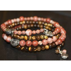 Red Cork Marble and Tigers Eye Trinity Knot Bracelet