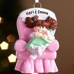 Personalized Brunette Big Sister Ornament