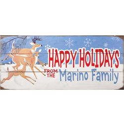 Happy Holidays Personalized Wood Sign