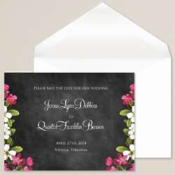 Floral Garden Chalkboard Save the Date Card