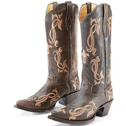 Brown Leather Embroidered Cowgirl Boots