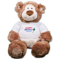 Embroidered Happy Birthday Teddy Bear