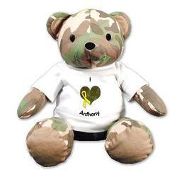 Personalized Camo Heart Teddy Bear