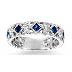 14k White Gold Filigree Diamond Sapphire Stackable Ring