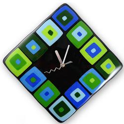 Contemporary Blue/Green Glass Wall Clock