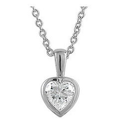 Sterling Silver Bezel-Set Heart Cubic Zirconia Pendant Necklace