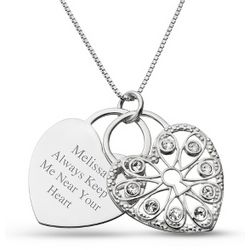 Sterling Padlock Heart Necklace