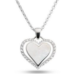 Sterling Silver Mother of Pearl Heart Necklace