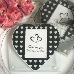 Black and White Hearts Pattern Photo Coaster Favor