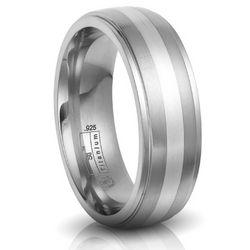 Titanium and Sterling Silver Men's Wedding Band