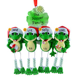 Personalized Dangling Legs Frog Family of Four Ornament