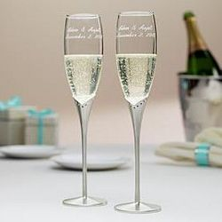 Personalized Glass Flutes with Crystals and Satin Stems