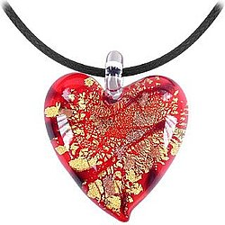 Red Gold and Black Heart Murano Glass Pendant