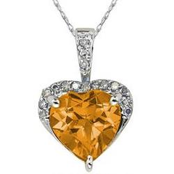 Citrine and Dimaond Heart Pendant in White Gold