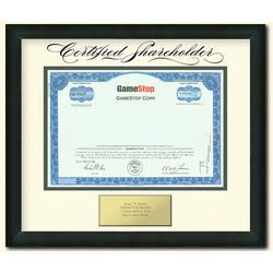 Framed GameStop Stock Certificate