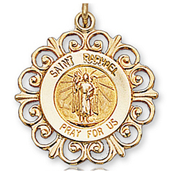 14K Yellow Gold 'Pray for Us' Ornate St. Raphael Medal