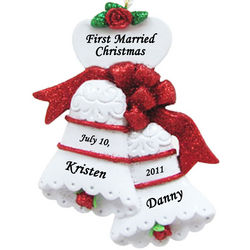First Married Christmas Ornament Personalized Wedding Bells
