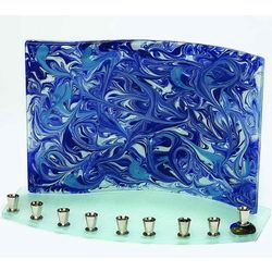 Blue and White Marbled Glass Menorah