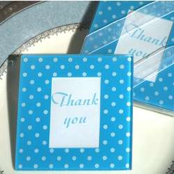 Blue and White Dot Pattern Photo Coaster Favors