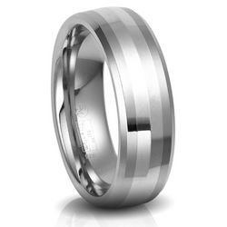 Men's Titanium with Sterling Silver Inlay Wedding Band