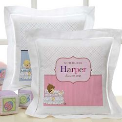 Precious Moments Personalized Christening Pillow