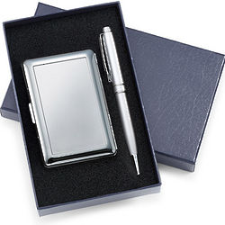 Chrome 6 Compartment Business Card Case & Pen Gift Set