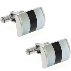 Mother of Pearl Black and White Bevel Cufflinks
