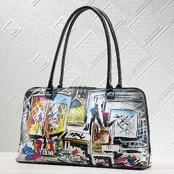 Hand-Painted Graffiti Leather Handbag