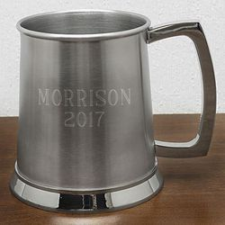 Brushed Stainless Steel Personalized Beer Stein