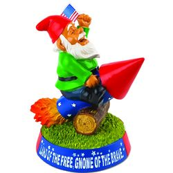 Stars and Stripes Garden Gnome on Rocket