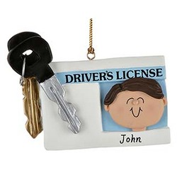 License with Key Boy Personalized Christmas Ornament