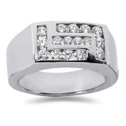 1.00 ctw Men's Diamond Ring in 14K White Gold