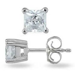 3/8 ct. Princess Diamond Solitaire Earrings in 14k White Gold