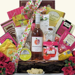 Meadow Sweets Rose Wine Gourmet Wine Gift Basket