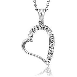 Cubic Zirconia Accent Sterling Silver Small Heart Pendant