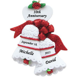 Personalized Anniversary Wedding Bells Christmas Ornament