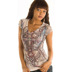 Gray Slashed Rosary Print Tissue Tee Top