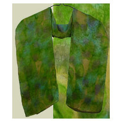 Green Leaf Silk Scarf