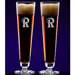 Monogrammed Prestige Crystal Pilsner Glasses