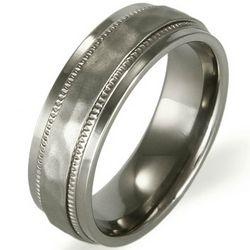 Men's Hammered Design Titanium Ring