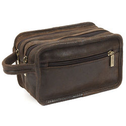 Distressed Brown Cowhide Leather Luxury Travel Kit