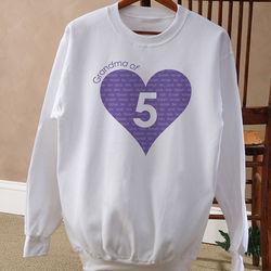Number of Children Personalized Women's Hearat Sweatshirt