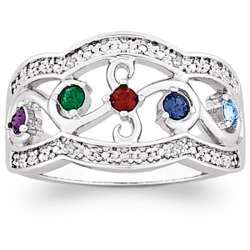 Mother's Family Birthstone Filigree Diamond Ring