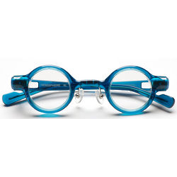 Blue Frame and Clear Lens Hemisphere Circular Frame Eyeglasses