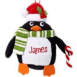 Personalized Plush Penguin Ornament with Candy Cane