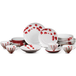 Pure Red Maple Leaf Dinnerware Set