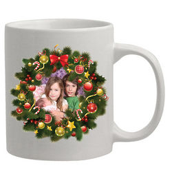 Personalized Photo Wreath Christmas Coffee Mug