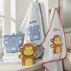 Personalized Animal Baby Bath Towel and Wash Mitt