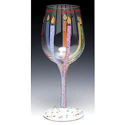 Happy Birthday Hand Painted Wine Glass
